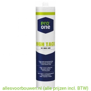 Pro One High Tack Kit, Wit of zwart 290ml. (12 kokers => 5,99 p/st)